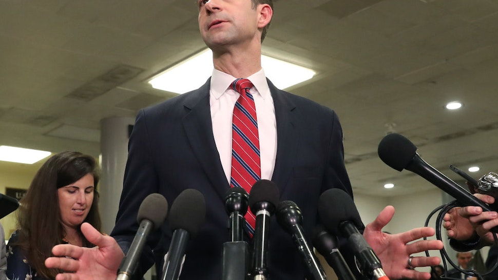 Sen. Tom Cotton (R-AR) speaks to the media after attending a briefing with administration officials about the situation with Iran, at the U.S. Capitol on January 8, 2020 in Washington, DC.