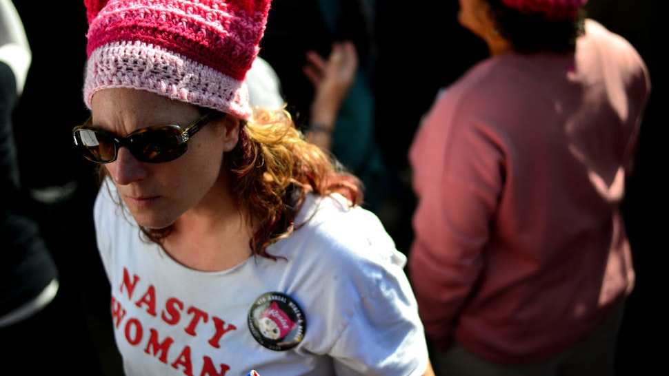 An activist participates in the 4th annual Women's March LA: Women Rising at Pershing Square on January 18, 2020 in Los Angeles, California.