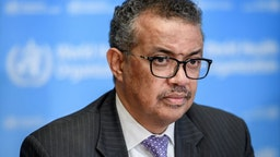 World Health Organization (WHO) Director-General Tedros Adhanom Ghebreyesus attends a daily press briefing on COVID-19 virus at the WHO headquarters on March 9, 2020 in Geneva.