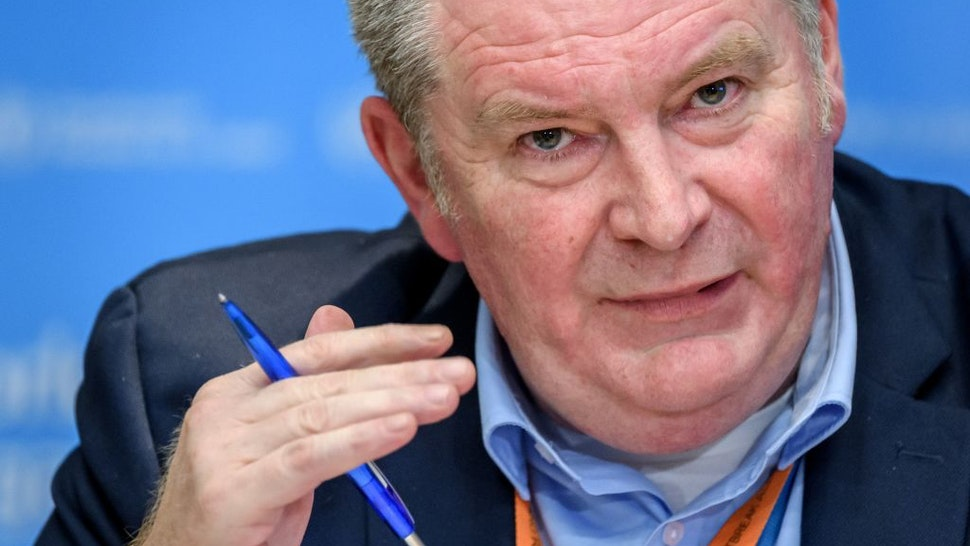 Graphic content / World Health Organization (WHO) Health Emergencies Programme Director Michael Ryan talks during a daily press briefing on COVID-19 virus at the WHO headquarters on March 11, 2020 in Geneva
