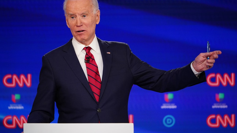Democratic presidential hopeful former US vice president Joe Biden participates in the 11th Democratic Party 2020 presidential debate in a CNN Washington Bureau studio in Washington, DC on March 15, 2020. (Photo by MANDEL NGAN / AFP) (Photo by MANDEL NGAN/AFP via Getty Images)