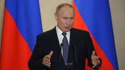 Russian President Vladimir Putin talks during the awarding ceremony at the museum on March 18, 2020 in Sevastopol, Crimea, Ukraine.