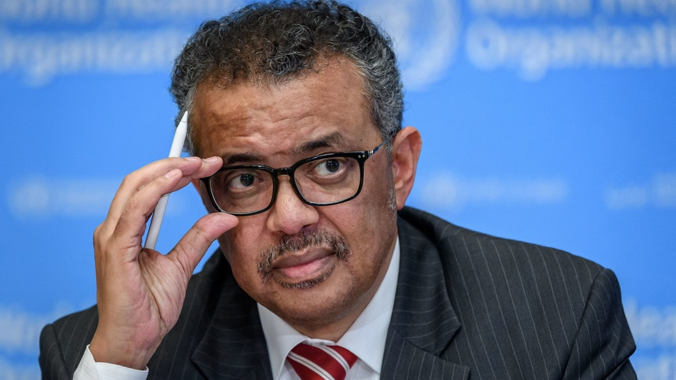World Health Organization (WHO) Director-General Tedros Adhanom Ghebreyesus attends a daily press briefing on COVID-19, the disease caused by the novel coronavirus, at the WHO heardquaters in Geneva on March 11, 2020. - WHO Director-General Tedros Adhanom Ghebreyesus announced on March 11, 2020, that the new coronavirus outbreak can now be characterised as a pandemic. (Photo by Fabrice COFFRINI / AFP) (Photo by FABRICE COFFRINI/AFP via Getty Images)