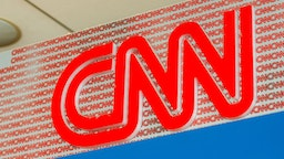 American news-based pay television channel, Cable News Network or CNN logo seen at Norman Y. Mineta San Jose International Airport.