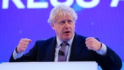 A file photo dated on November 18, 2019 shows British Prime Minister Boris Johnson making a keynote speech at the annual CBI (Confederation of British Industry) conference at Intercontinental Hotel, Greenwich, in London, United Kingdom. British Prime Minister Boris Johnson tests positive for COVID-19.