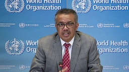 A TV grab taken from the World Health Organization website shows WHO Chief Tedros Adhanom Ghebreyesus via video link as he delivers a news briefing on COVID-19 (novel coronavirus) from the WHO headquarters in Geneva on March 30, 2020.