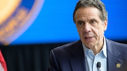 Following the arrival in New York City of the U.S. Naval hospital ship Comfort, NY State Governor Andrew Cuomo is seen during a press conference at the field hospital site at the Javits Center.