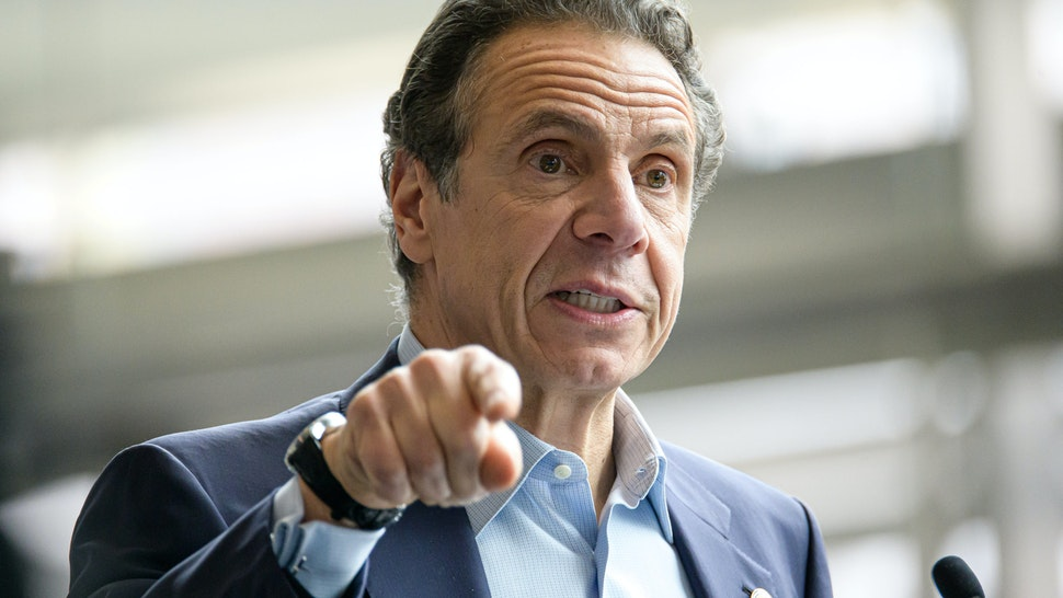 NEW YORK, NY, UNITED STATES - 2020/03/30: Following the arrival in New York City of the U.S. Naval hospital ship Comfort, NY State Governor Andrew Cuomo is seen during a press conference at the field hospital site at the Javits Center. (Photo by Albin Lohr-Jones/Pacific Press/LightRocket via Getty Images)