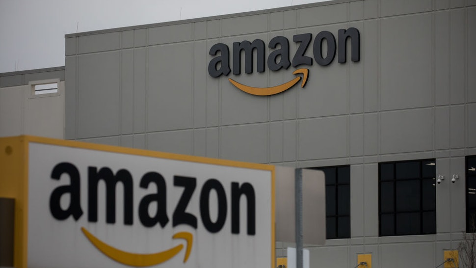 Amazon.com Inc. signage is displayed in front of a warehouse in the Staten Island borough of New York, U.S., on Tuesday, March 31, 2020.