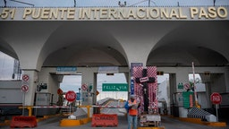 The entrance to the Paso del Norte International Bridge is quiet on a weekday that it is usually busy with border crossers on April 1, 2020 in Ciudad Juarez, Mexico.