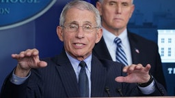 Director of the National Institute of Allergy and Infectious Diseases Anthony Fauci speaks during the daily briefing on the novel coronavirus, COVID-19, in the Brady Briefing Room at the White House on April 1, 2020, in Washington, DC.