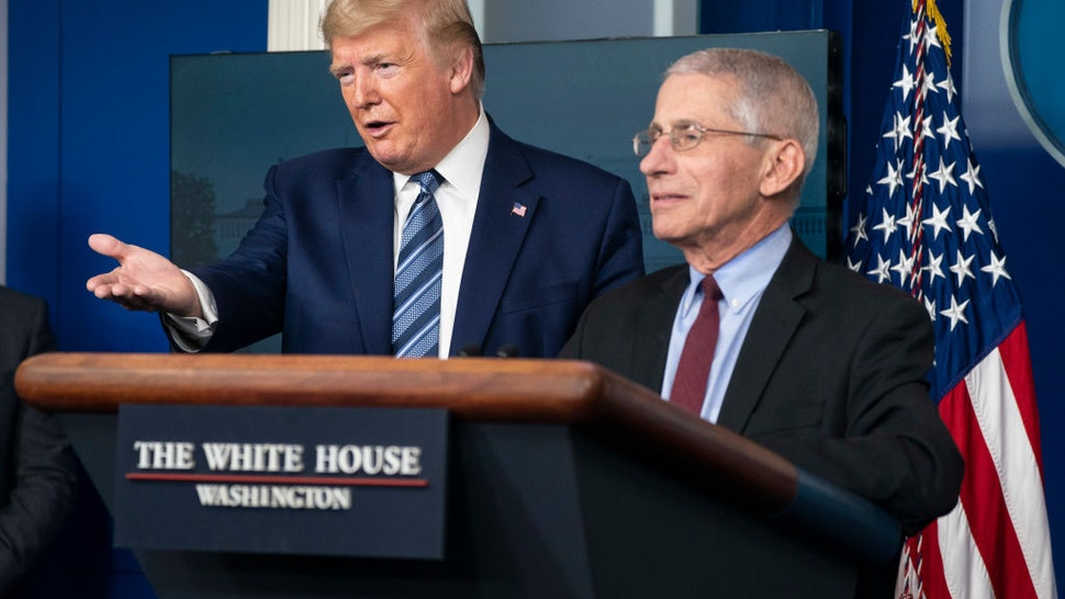 U.S. President Donald Trump and Anthony Fauci, director of the National Institute of Allergy and Infectious Diseases, hold a press briefing with members of the White House Coronavirus Task Force on April 5, 2020 in Washington, DC.