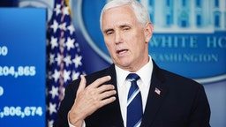U.S. Vice President Mike Pence speaks during a Coronavirus Task Force news conference at the White House in Washington, D.C., U.S., on Tuesday, April 7, 2020.