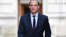 Foreign Secretary Dominic Raab arrives at 10 Downing Street for today's C-19 committee meeting on April 8, 2020 in London, England.