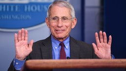 Anthony Fauci, director of the National Institute of Allergy and Infectious Diseases, speaks during a Coronavirus Task Force news conference at the White House in Washington, D.C., U.S., on Friday, April 10, 2020. President Donald Trump said he has asked his agriculture secretary to use all of the funds and authorities at his disposal, to aid U.S. farmers, whose financial peril has worsened in the coronavirus pandemic. Photographer: Kevin Dietsch/UPI/Bloomberg via Getty Images