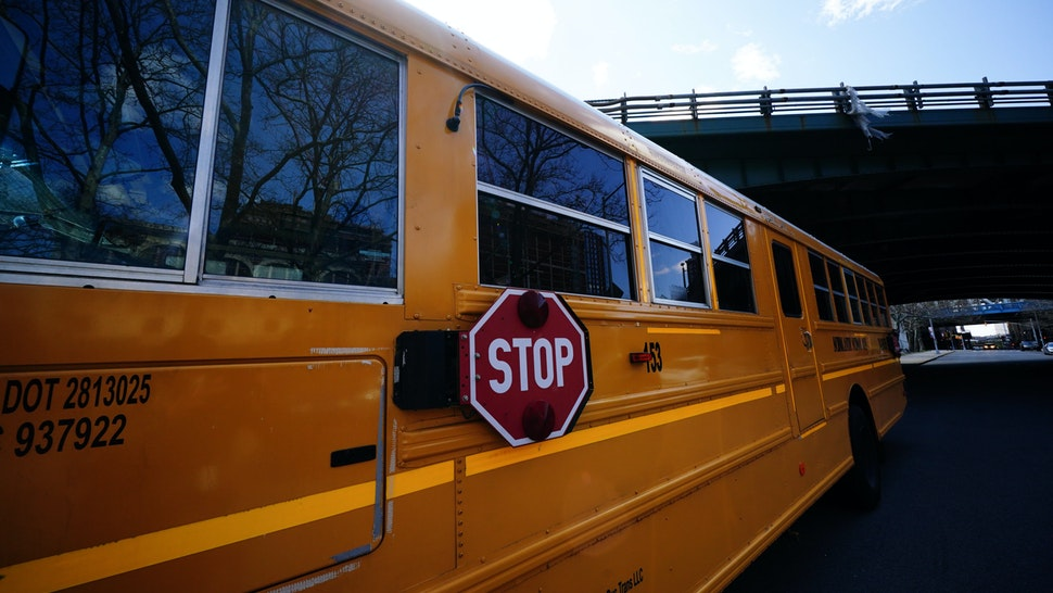 A view of a School bus in Brooklyn, New York, USA. Mayor Bill Di Blasio announces suspension of Public School Classes for the remainder of academic year during coronavirus pandemic on April 11, 2020. (Photo by John Nacion/NurPhoto via Getty Images)