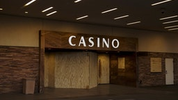 An entrance to Golden Gate hotel and casino is seen boarded up in Las Vegas, Nevada, U.S., on Wednesday, April 15, 2020. Nevada's governor ordered all casinos in the state to close for 30 days in mid-March to prevent the spread of the coronavirus and has since extended that order until April 30. Photographer: Bridget Bennett/Bloomberg via Getty Images