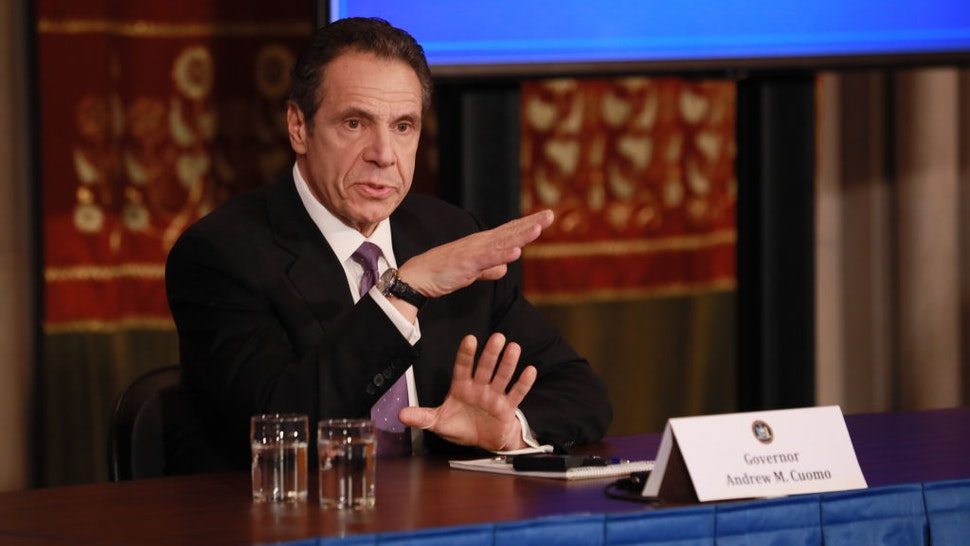 New York Governor Andrew Cuomo gives his a press briefing about the coronavirus crisis on April 17, 2020 in Albany, New York.