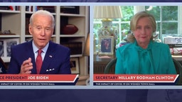In this screengrab taken from the PBS News Hour website, former first lady, Senator and Secretary of State Hillary Clinton joins former Vice President and Democratic presidential candidate Joe Biden during a live streamed town hall on April 28, 2020 in Wilmington, Delaware.