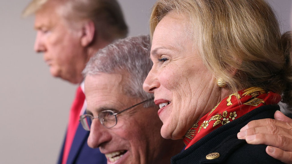 President Donald Trump, Dr. Anthony Fauci, director of the National Institute of Allergy and Infectious Diseases, and White House coronavirus response coordinator Debbie Birx, participate in the daily coronavirus task force briefing in the Brady Briefing room at the White House on March 31, 2020 in Washington, DC.