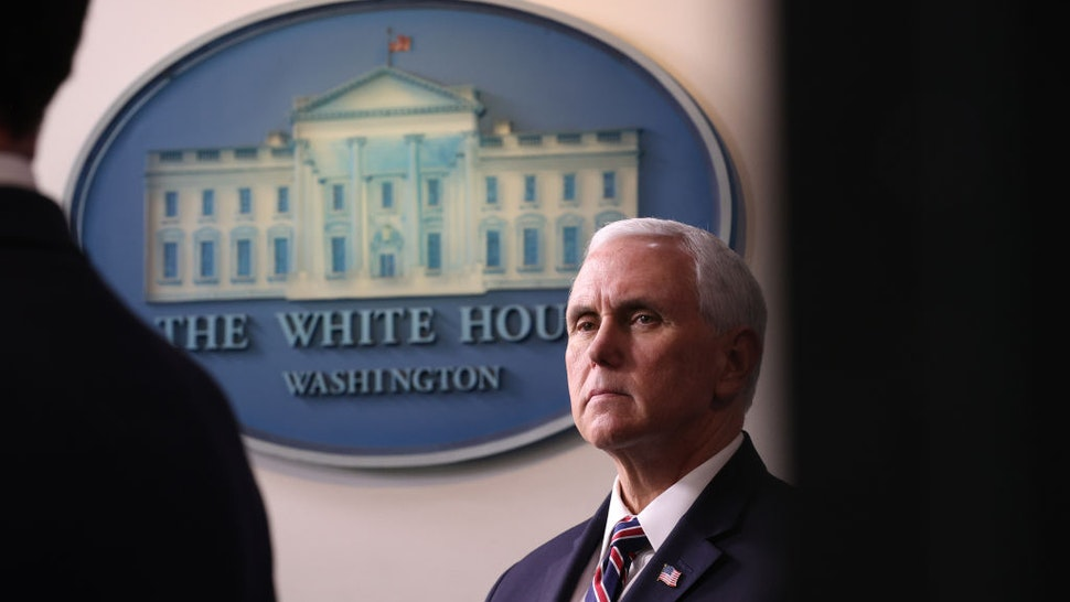 U.S. VIce president Mike Pence appears with members of the White House Coronavirus Task Force April 2, 2020 in the briefing room at the White House in Washington, DC.