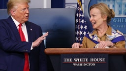 White House coronavirus response coordinator Deborah Birx speaks while flanked by U.S. President Donald Trump following a meeting of his coronavirus task force in the Brady Press Briefing Room at the White House on April 6, 2020 in Washington, DC.