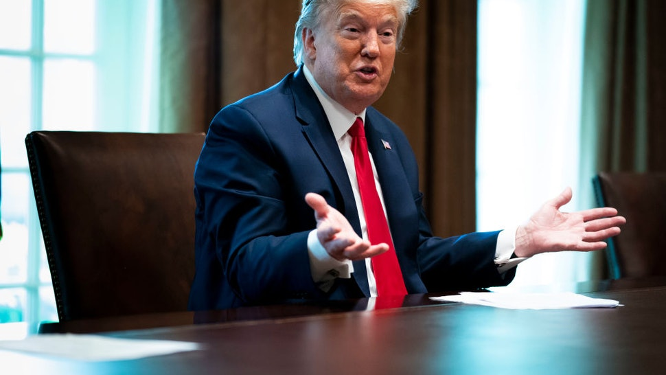 President Donald Trump speaks during a meeting with recovered coronavirus (COVID-19) patients in the Cabinet Room at the White House April 14, 2020 in Washington, D.C.