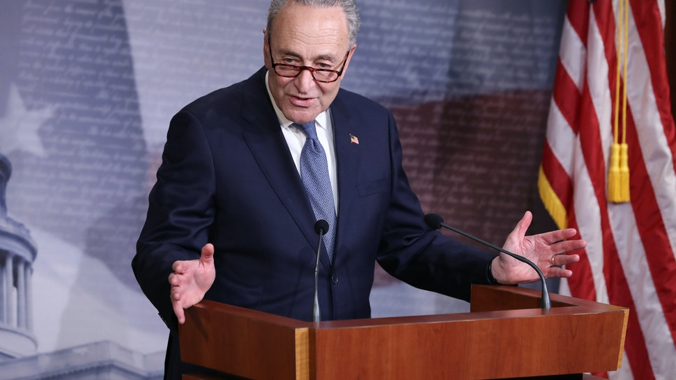 WASHINGTON, DC - APRIL 21: Minority Leader Charles Schumer (D-NY) talks to reporters U.S. Capitol April 21, 2020 in Washington, DC. Schumer, House Speaker Nancy Pelosi (D-CA) and Senate Majority Leader Mitch McConnell (R-KY) agreed on new $500 billion bipartisan deal to deliver more coronavirus relief to small businesses and hospitals. (Photo by Chip Somodevilla/Getty Images)
