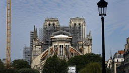 PARIS, FRANCE - APRIL 27: Notre-Dame de Paris Cathedral is seen one year after fire ravaged the emblematic monument on April 27, 2020 in Paris, France. Restoration work resumes slowly after an interruption due to the coronavirus lockdown. The coronavirus (COVID-19) pandemic has spread to many countries across the world, claiming over 206,000 lives and infecting over 2.9 million people. (Photo by Chesnot/Getty Images)