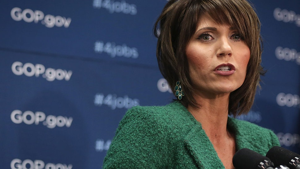 U.S. Rep. Kristi Noem (R-SD) speaks during a news briefing after a House Republican Conference meeting January 14, 2014 on Capitol Hill in Washington, DC.