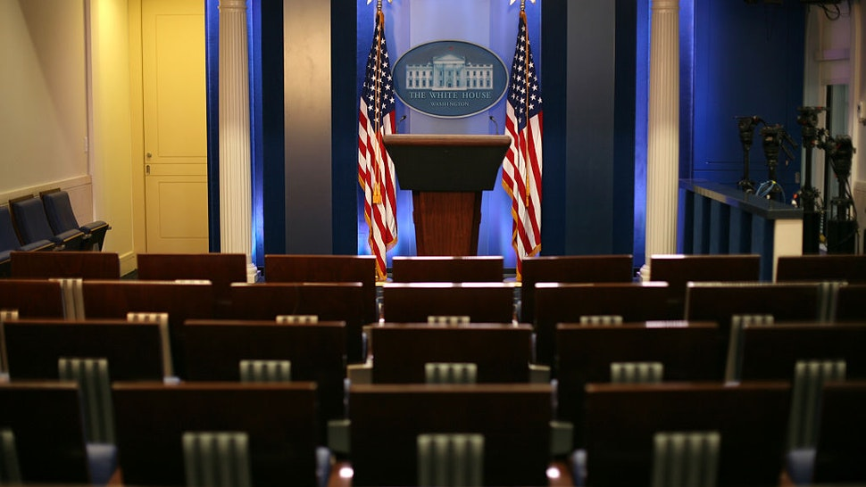 The White House press briefing room. (Photo by Ken Cedeno/Corbis via Getty Images)