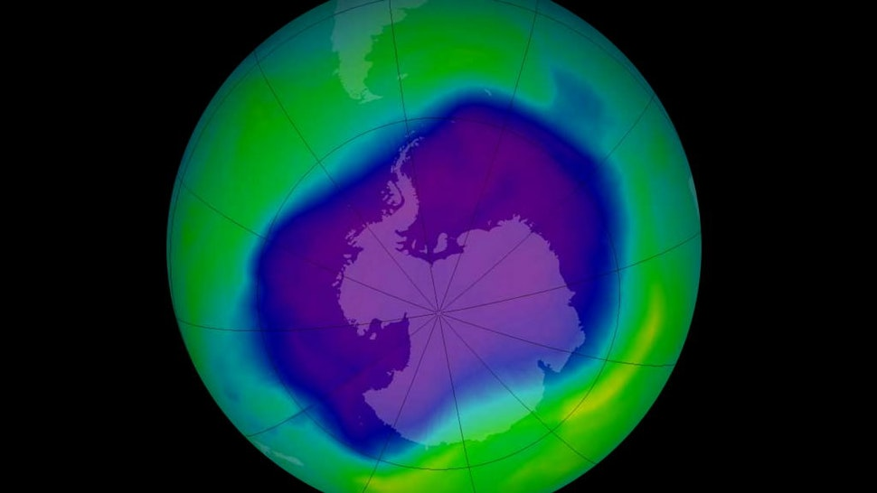 In this image, from September 2006, the Antarctic ozone hole was equal to the record single-day largest area of 11.4 million square miles (29.5 million square kilometres), reached on Sept. 9, 2000.