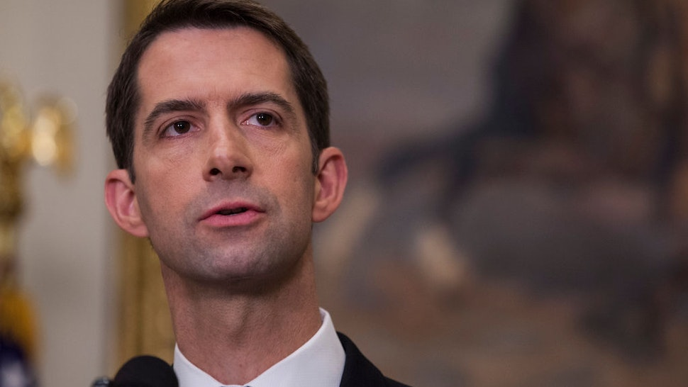 Sen. Tom Cotton (R-AR) makes an announcement on the introduction of the Reforming American Immigration for a Strong Economy (RAISE) Act in the Roosevelt Room at the White House on August 2, 2017 in Washington, DC.