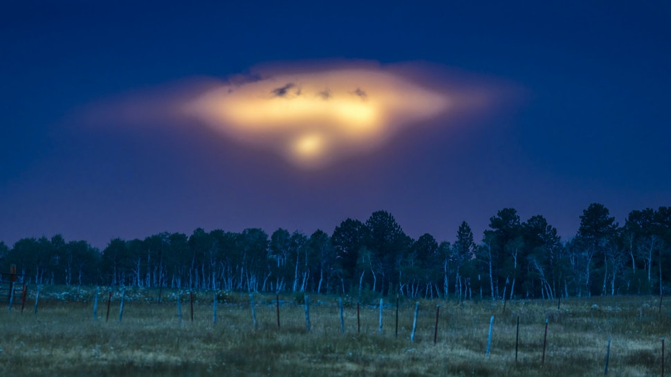 HASTINGS MESA, UFO-like sunset over Hastings Mesa, between Ridgway and Telluride Colorado , resembles a spaceship landing. (Photo by: Visions of America/Universal Images Group via Getty Images)
