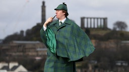 Harry Chamberlain at the launch in Edinburgh of the Sherlock Holmes tartan which has been designed by the great great step granddaughter of author Sir Arthur Conan Doyle, who created the fictional detective.