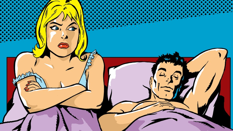 Woman Sitting in Bed With Her Arms Crossed As a Man Sleeps - stock illustration