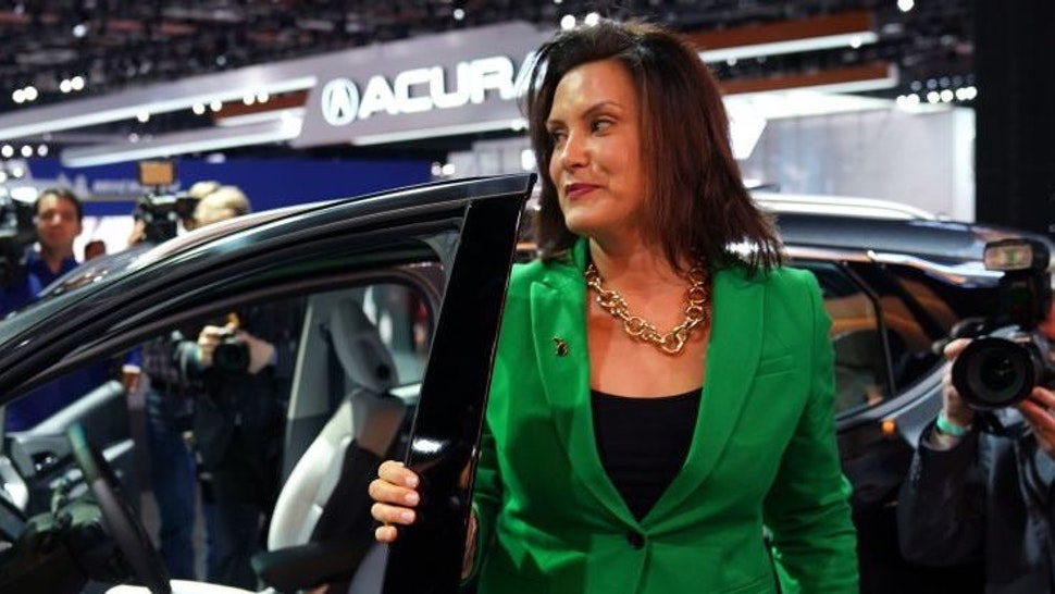 Gretchen Whitmer, newley elected governor of Michigan tours the show during day two of the 2019 The North American International Auto Show January 15, 2019 at the Cobo Center in Detroit, Michigan. (Photo by TIMOTHY A. CLARY / AFP)