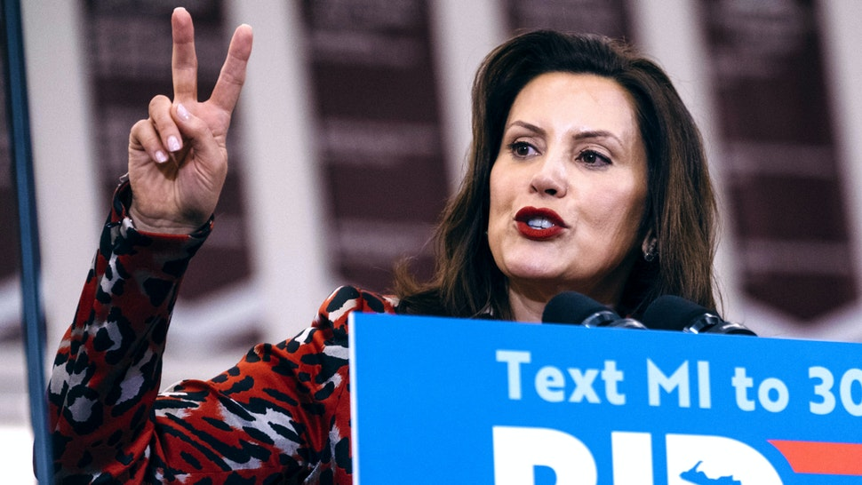 Gretchen Whitmer, governor of Michigan, speaks during a campaign event with former Vice President Joe Biden, 2020 Democratic presidential candidate, not pictured, in Detroit, Michigan, U.S., on Monday, March 9, 2020. Biden said that he would be a bridge to a new generation, restoring the countrys values following Donald Trumps presidency and then leaving the country to younger leaders.