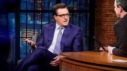 LATE NIGHT WITH SETH MEYERS -- Episode 677 -- Pictured: (l-r) MSNBC's Chris Hayes during an interview with host Seth Meyers on April 26, 2018 --