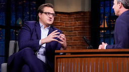 LATE NIGHT WITH SETH MEYERS -- Episode 891 -- Pictured: (l-r) MSNBC's Chris Hayes during an interview with host Seth Meyers on September 30, 2019 --