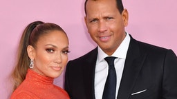 CFDA Fashion Icon Award recipient US singer Jennifer Lopez and fiance former baseball pro Alex Rodriguez arrive for the 2019 CFDA fashion awards at the Brooklyn Museum in New York City on June 3, 2019. (Photo by ANGELA WEISS / AFP)