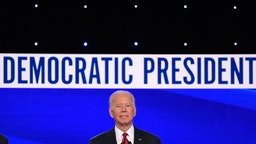 Democratic presidential hopeful former US Vice President Joe Biden gestures as he speaks during the fourth Democratic primary debate of the 2020 presidential campaign season co-hosted by The New York Times and CNN at Otterbein University in Westerville, Ohio on October 15, 2019. (Photo by SAUL LOEB / AFP)