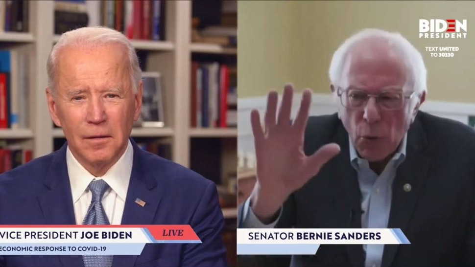 """UNKNOWN LOCATION - APRIL 13: In this screengrab taken from JoeBiden.com campaign website, U.S. Sen. Bernie Sanders (I-VT) endorses Democratic presidential candidate former Vice President Joe Biden during a live streaming broadcast on April 13, 2020. Sanders said, """"Today, I am asking all Americans—I'm asking every Democrat, I'm asking every Independent, I'm asking a lot of Republicans—to come together in this campaign to support your candidacy."""" (Photo by JoeBiden.com via Getty Images)"""