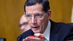 Senator John Barrasso, a Republican from Wyoming and chairman of the Senate Environment and Public Works Committee, questions witnesses during a hearing in Washington, D.C., U.S., on Wednesday, May 3, 2017. The hearing is entitled Infrastructure Project Streamlining and Efficiency: Achieving Faster, Better and Cheaper Results.