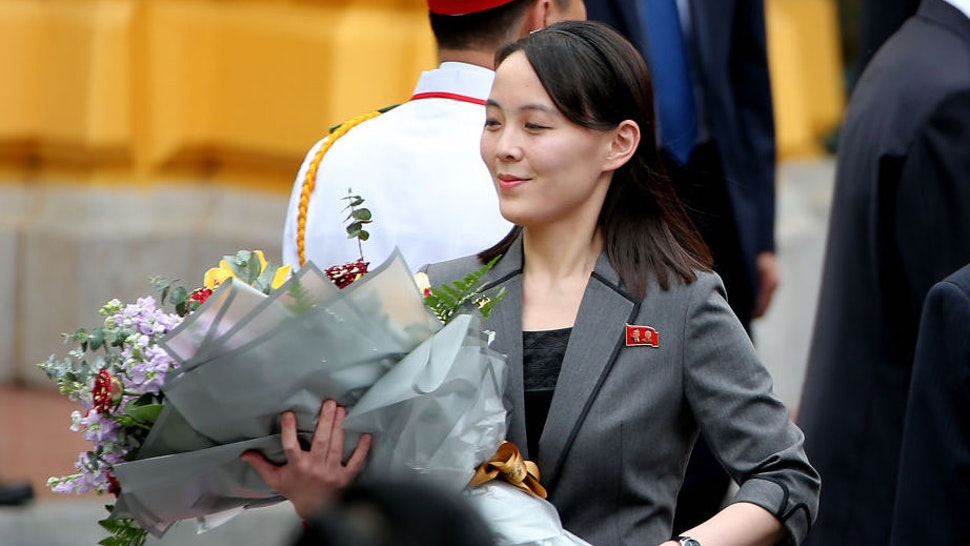 Kim Yo Jong, sister of North Korean leader Kim Jong Un, holds a flower bouquet during a welcoming ceremony at the Presidential Palace in Hanoi, Vietnam, on Friday, March 1, 2019. Kim will have a long train ride home through China to think about what went wrong in his second summit withDonald Trumpand how to keep it from reversing his gains of the past year. Photographer: Luong Thai Linh/Pool via Bloomberg