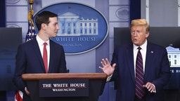 President Donald Trump, right, speaks as Jared Kushner, senior White House adviser, listens during a Coronavirus Task Force news conference at the White House in Washington, D.C., U.S., on Thursday, April 2, 2020. Trumptested negative again for the coronavirus and has no symptoms, a White House doctor said. Photographer: Kevin Dietsch/UPI/Bloomberg