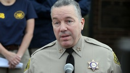 CALABASAS, CALIFORNIA - JANUARY 27: Los Angeles County Sheriff Alex Villanueva speaks at a news conference on the helicopter crash that yesterday claimed the lives of NBA great Kobe Bryant, his daughter Gianna, 13, and seven others January 27, 2020 in Calabasas, California. The group was traveling to Bryant's Mamba Sports Academy in Thousand Oaks for a basketball tournament when the crash occurred.