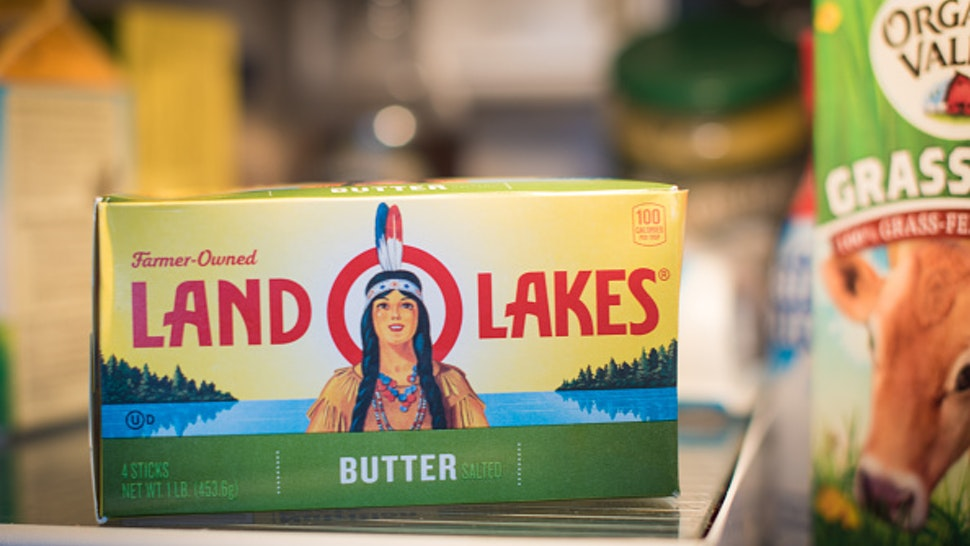 A container of Land O'Lakes Inc. brand butter is displayed for a photograph in Dobbs Ferry, New York, U.S., on Wednesday, Feb. 20, 2019. With 2018 annual sales of $15 billion, Land O'Lakes is one of the nation's largest cooperatives.