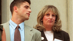 WASHINGTON, DC - JULY 29: Linda Tripp (R) waits to make a statement to reporters beside her daughter Allison (L) and son Ryan (C) in front of the Federal Courthouse 29 July in Washington, DC, after her eighth and final day of testimony before a federal grand jury. Tripp's taped conversations with former White House intern Monica Lewinsky triggered the sex-and-lies probe dogging US President Bill Clinton.