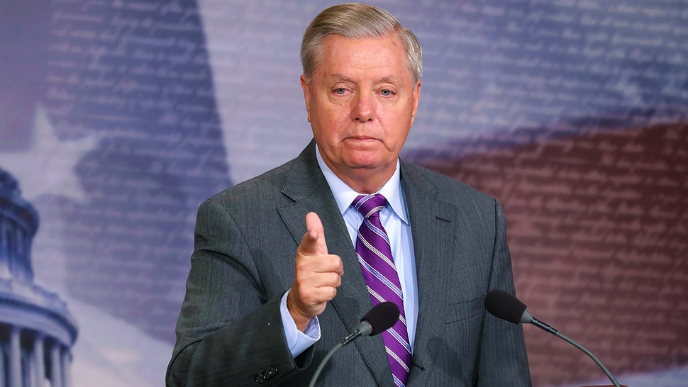 WASHINGTON, DC - NOVEMBER 01: Sen. Lindsey Graham (R-SC) talks to reporters about the suspect in a vehicle attack in Manhattan during a news conference at the U.S. Capitol November 1, 2017 in Washington, DC. Graham told reporters he talked with President Donald Trump about Graham's belief that the suspect, Sayfullo Saipov, should be designated an unlawful enemy combatant.